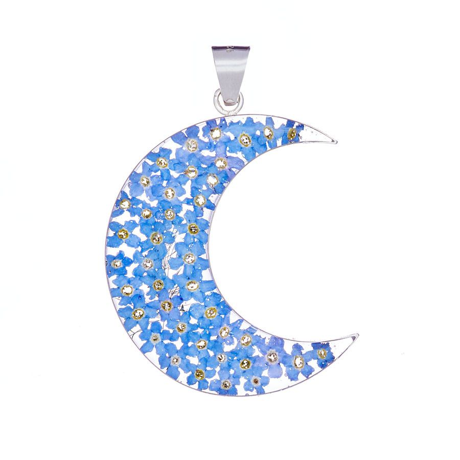 San Marco Blue Moon Mexican Flowers Large Pendant