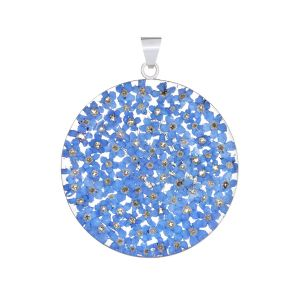 San Marco Blue Mexican Flowers Large Round Pendant
