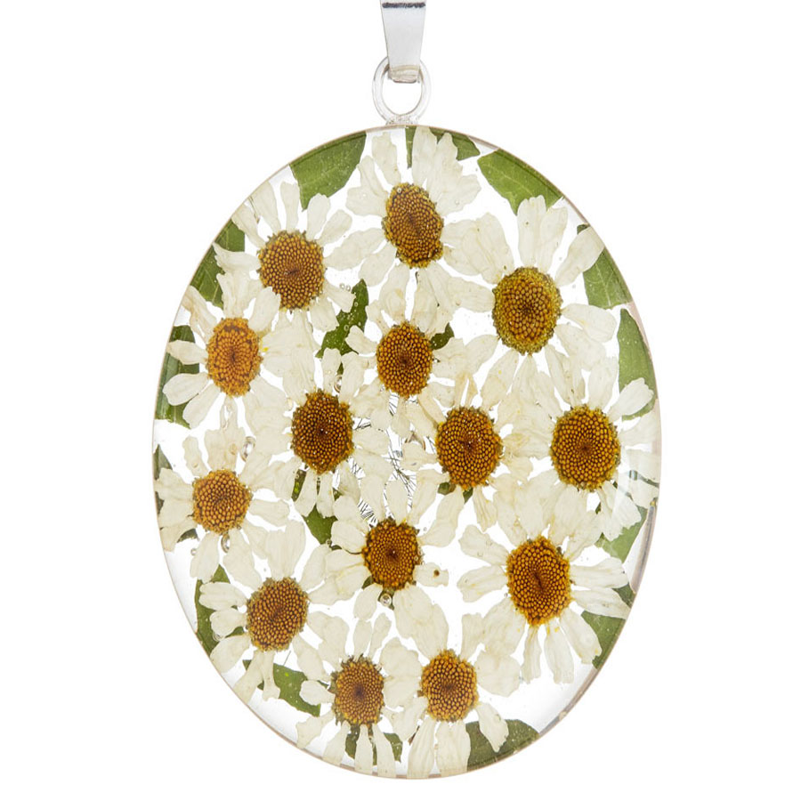 San Marco White Mexican Flowers Large Oval Pendant