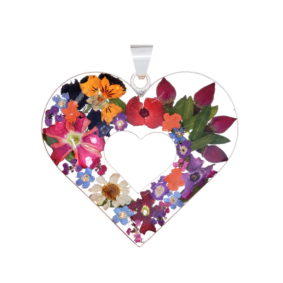 San Marco Garden Heart Mexican Flowers Large Cut-Out Pendant
