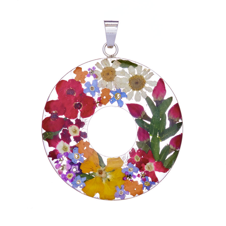 San Marco Garden Mexican Flowers Large Donut Pendant