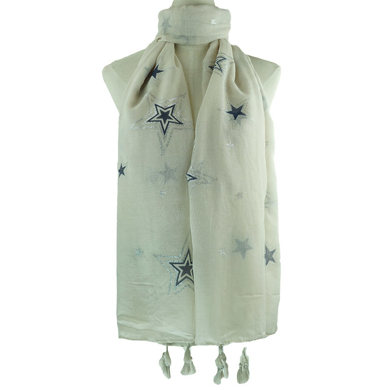 Scarf with Tassels  ~ Stars Design in Blue Silver & Grey