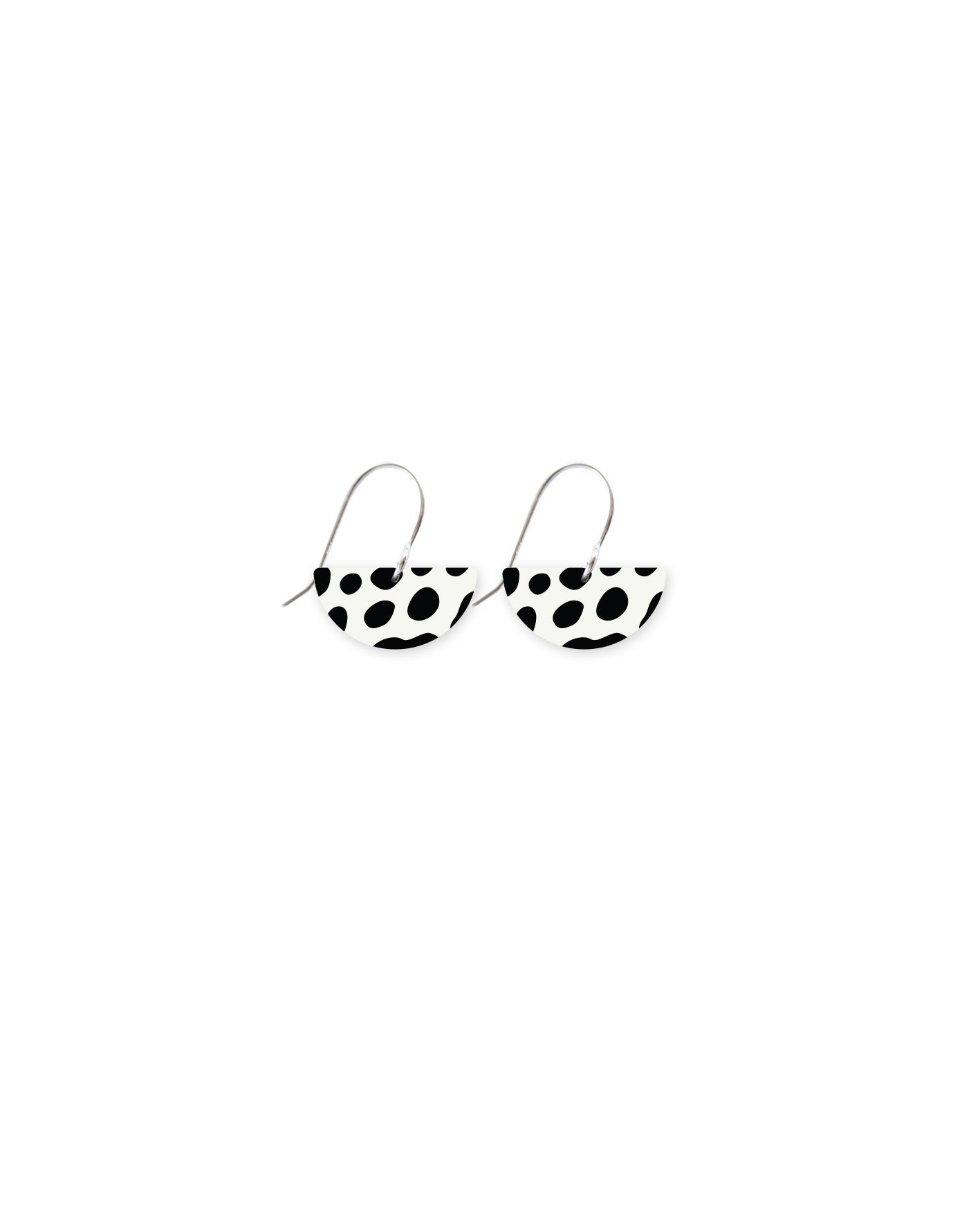 MOE MOE White Animal Print Small Moon Drop Earrings