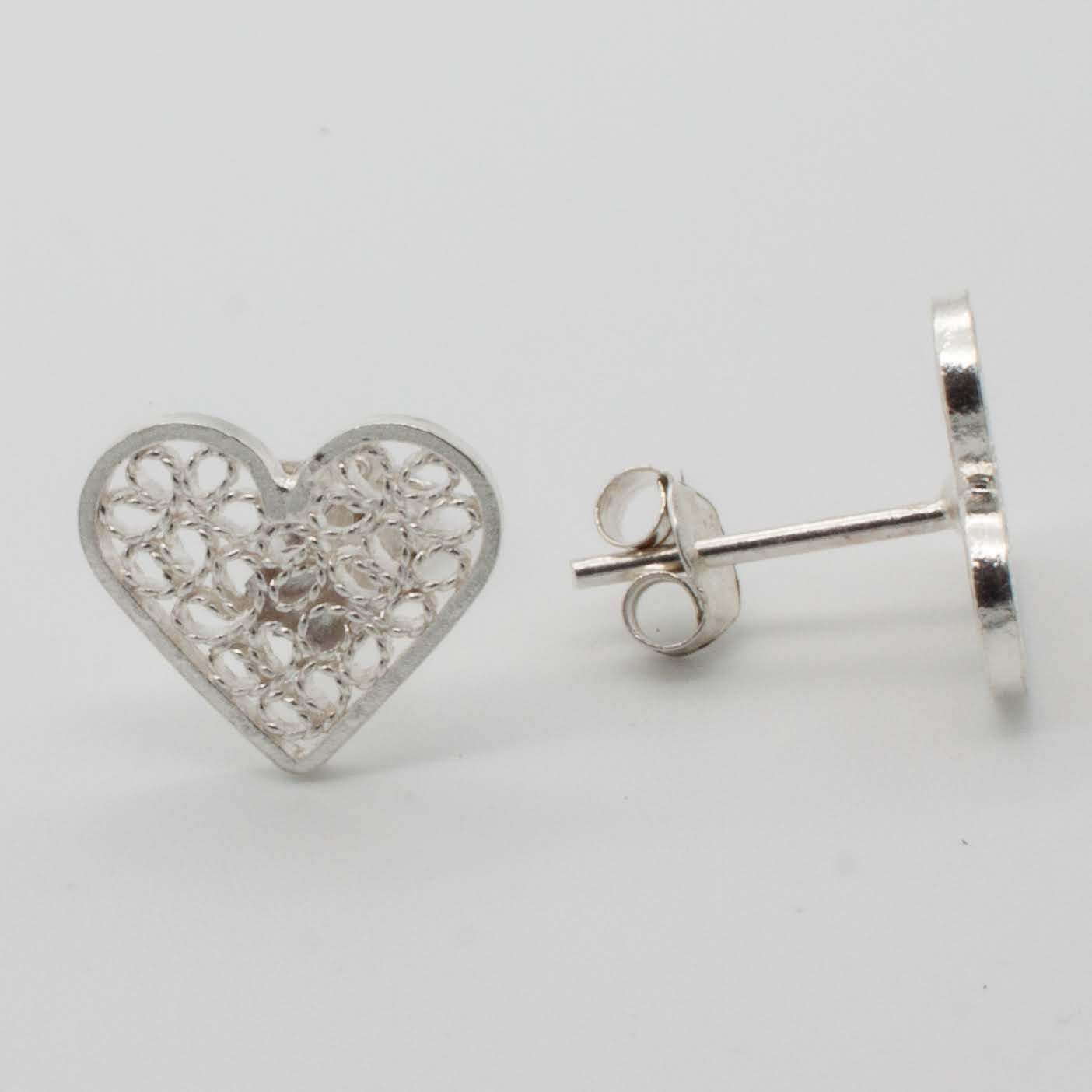 Filigree Sterling Silver XS Web Heart (Corazon Web) Stud Earrings by Gaviota