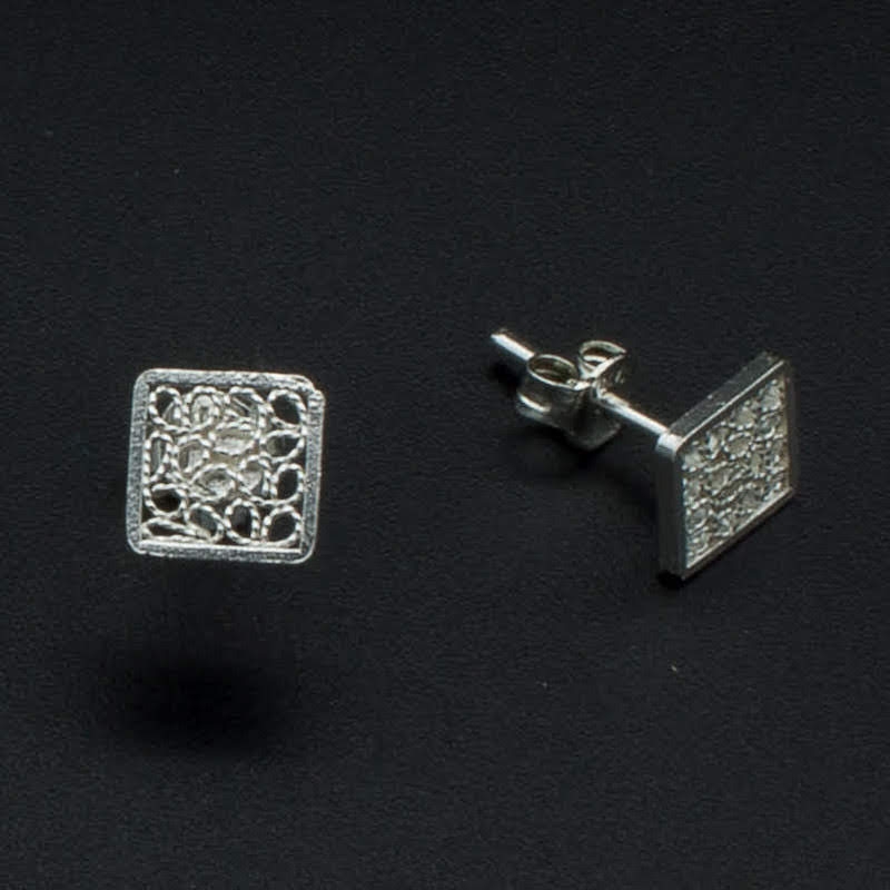Filigree Sterling Silver XS Square Stud Earrings by Gaviota