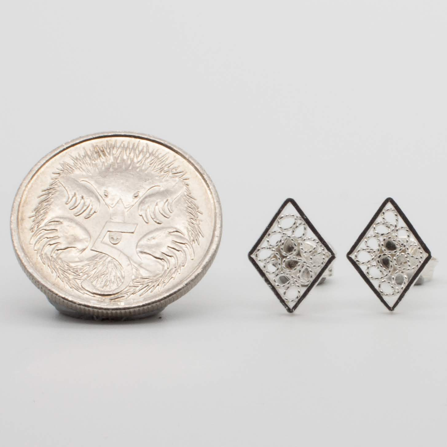 Filigree Sterling Silver Rhombus (Rombo) Stud Earrings by Gaviota