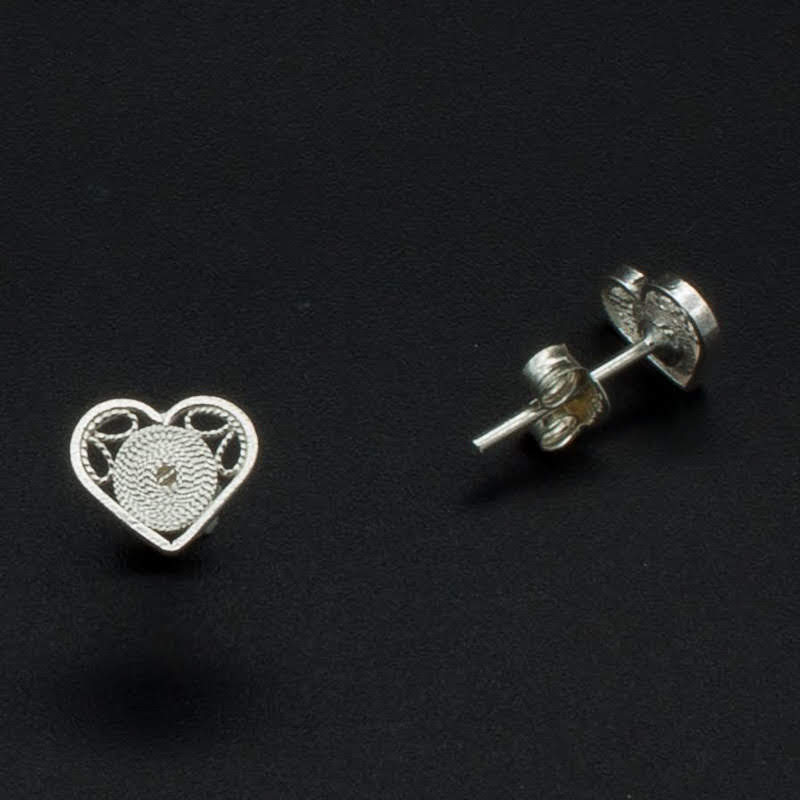 Filigree Sterling Silver XS Heart Circle Stud Earrings by Gaviota