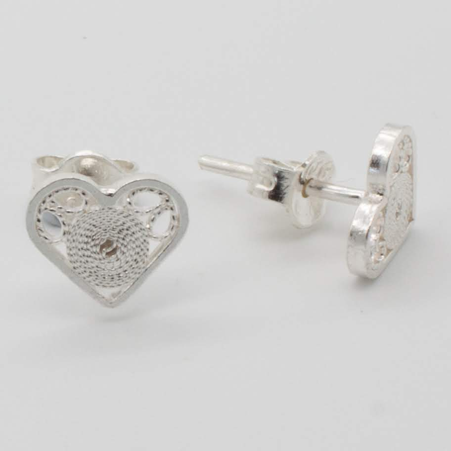 Filigree Sterling Silver XS Heart Circle (Coroson) Stud Earrings by Gaviota