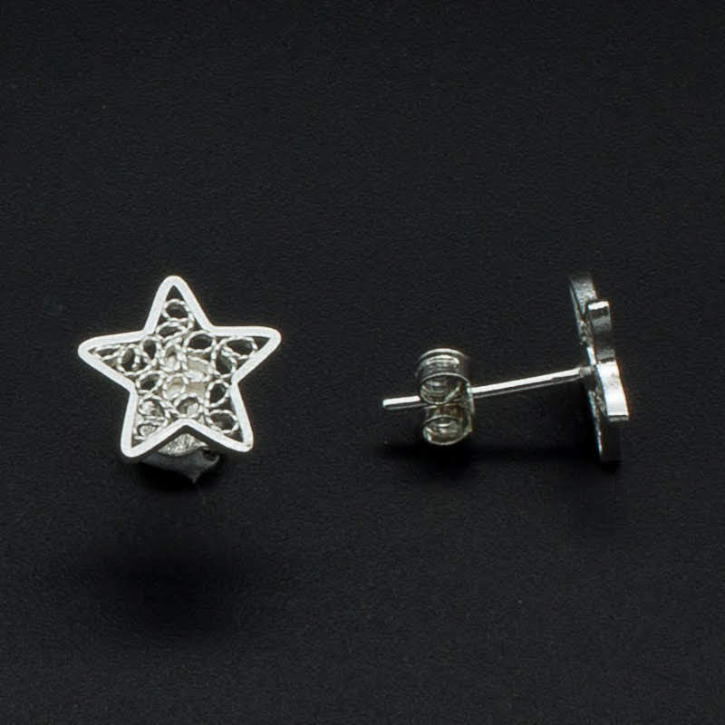 Filigree Sterling Silver XS Star Stud Earrings by Gaviota