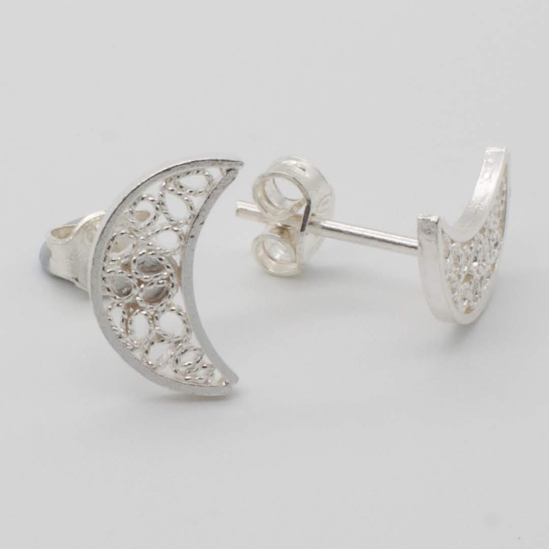 Filigree Sterling Silver XS Moon (Luna) Stud Earrings by Gaviota