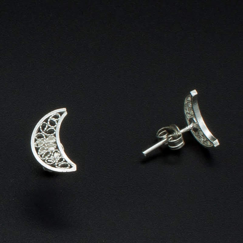 Filigree Sterling Silver XS Moon Stud Earrings by Gaviota