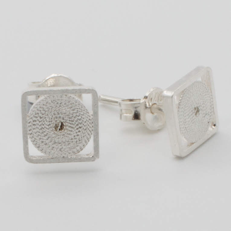 Filigree Sterling Silver XS Jodie Square (Cuadrado) Stud Earrings by Gaviota