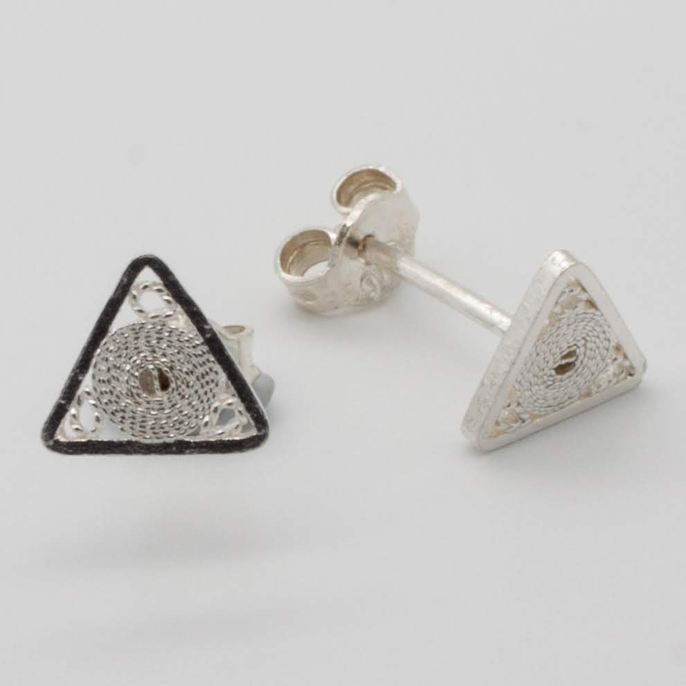 Filigree Sterling Silver XS Jodie Traingle (Triangolo) Stud Earrings by Gaviota