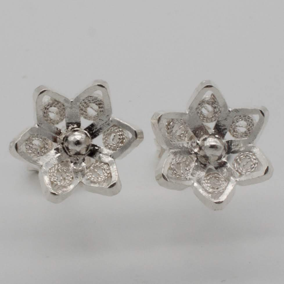 Filigree Sterling Silver XS Jodie Six Petals Flower (Flor Seis Pétalos) Stud Earrings by Gaviota