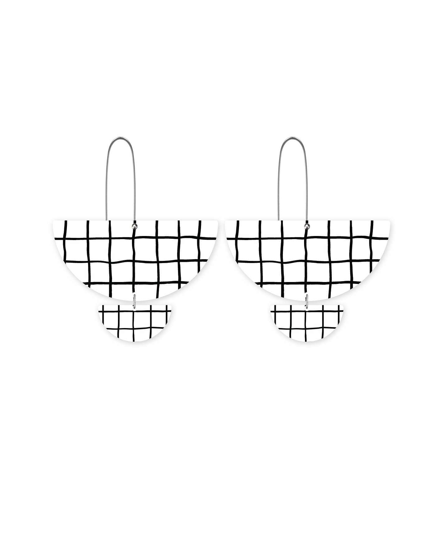 MOE MOE Grid Pattern Statement Long Drop Earrings
