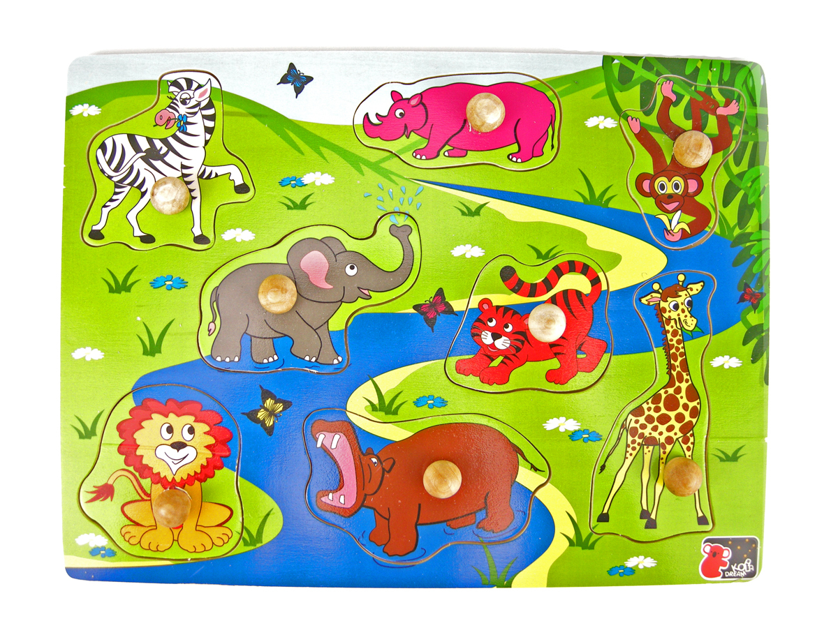 Wooden knob 2 in 1 Safari puzzle by Koala Dream 1+
