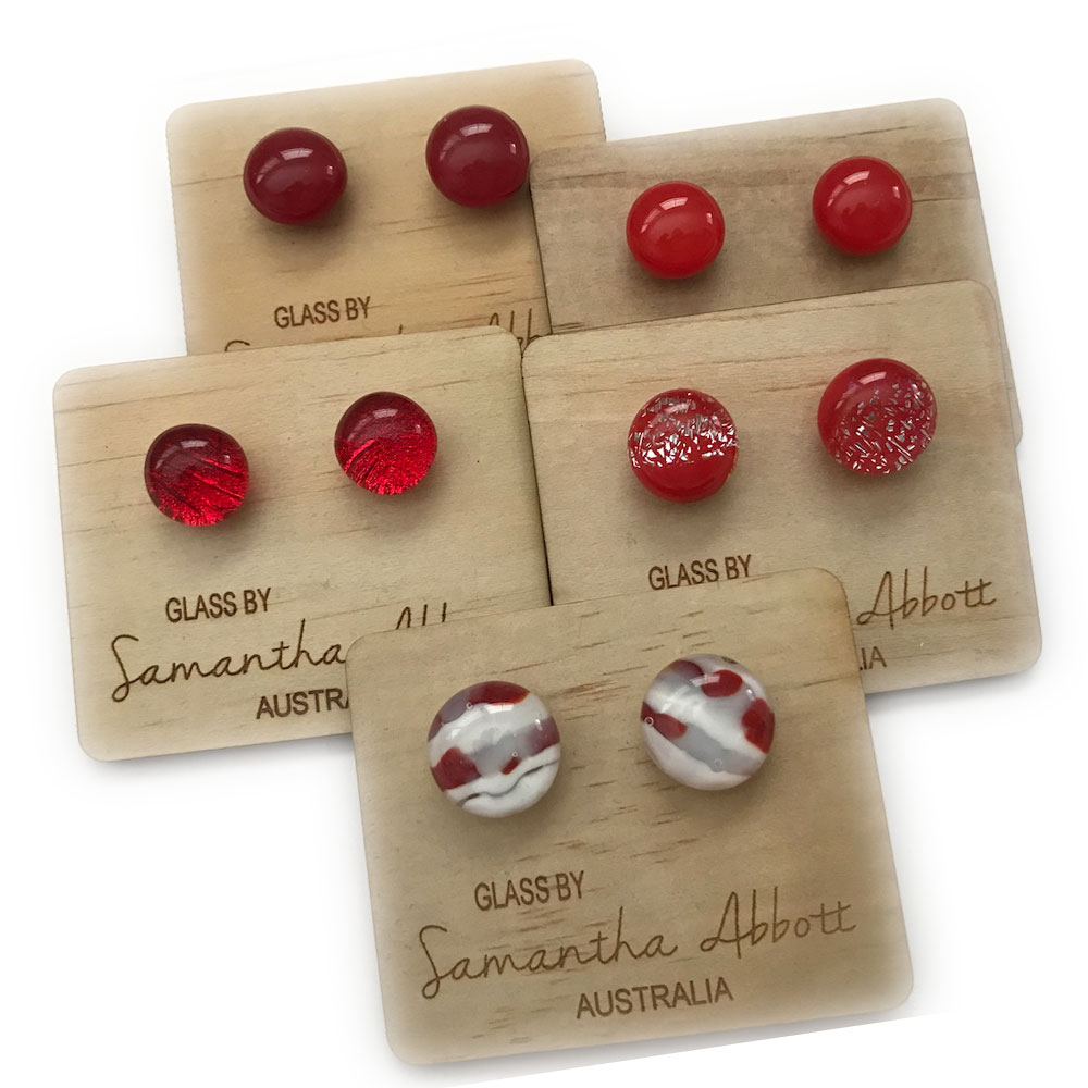 Glass Stud Earrings in Red Tones by Australian Artist Samantha Abbott