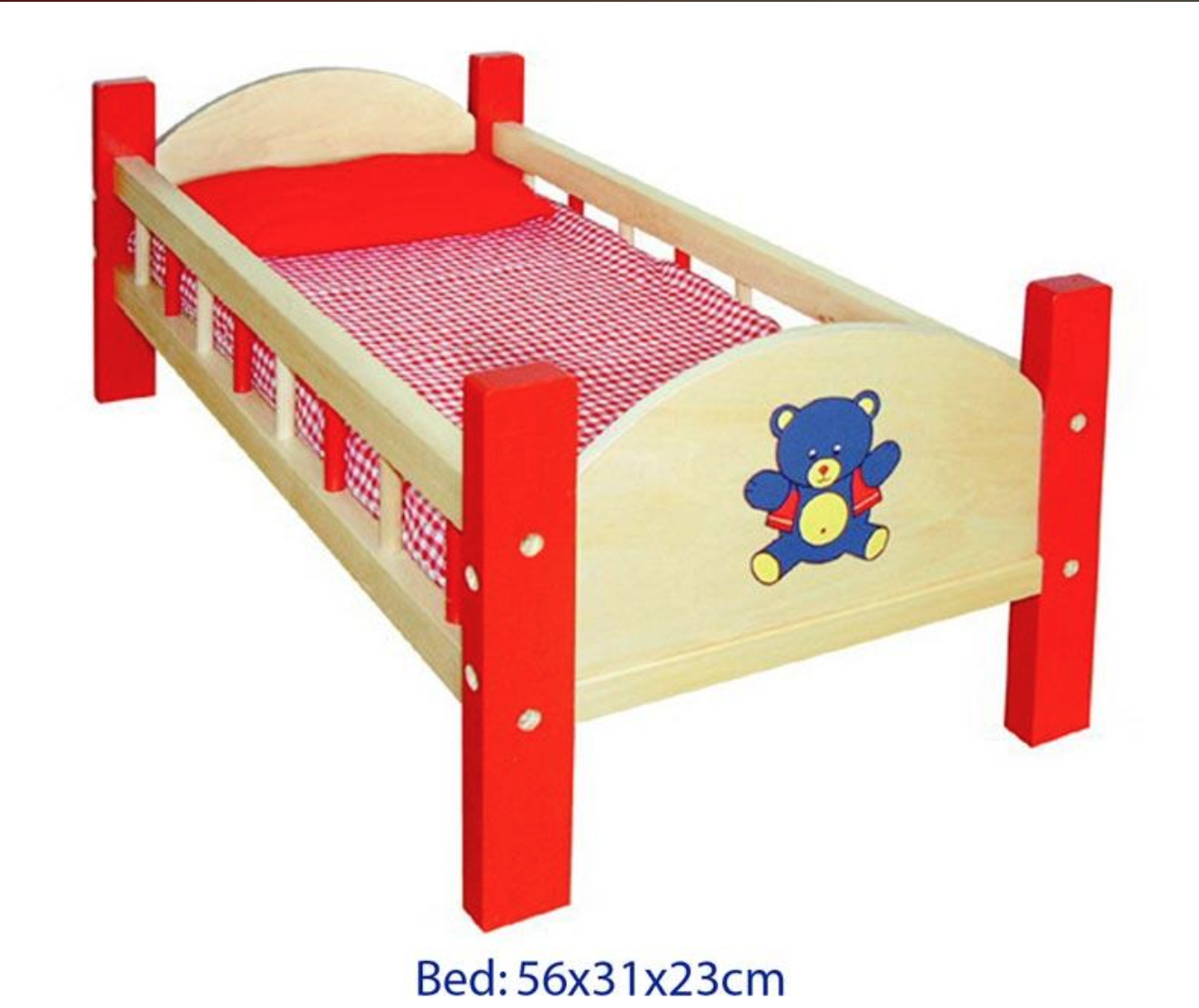 Wooden Doll Red Bed by VIGA Toys