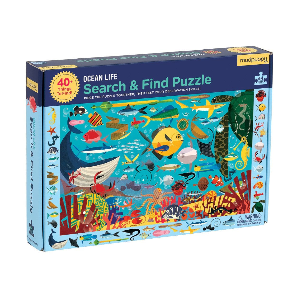 Search and Find Ocean Life Puzzle by Mudpuppy 64pc 4+