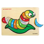 Wooden raised Silkworm number puzzle by Fun Factory