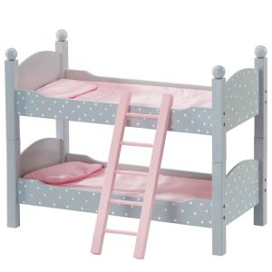 Olivia's little world ~ Polka Dot Princess 45cm Doll Furniture ~ Double Bunk Bed