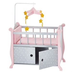 Olivia's little world ~ Polka Dot Princess 45cm Doll Furniture ~ Baby Nursery Bed with Cabinet 3+