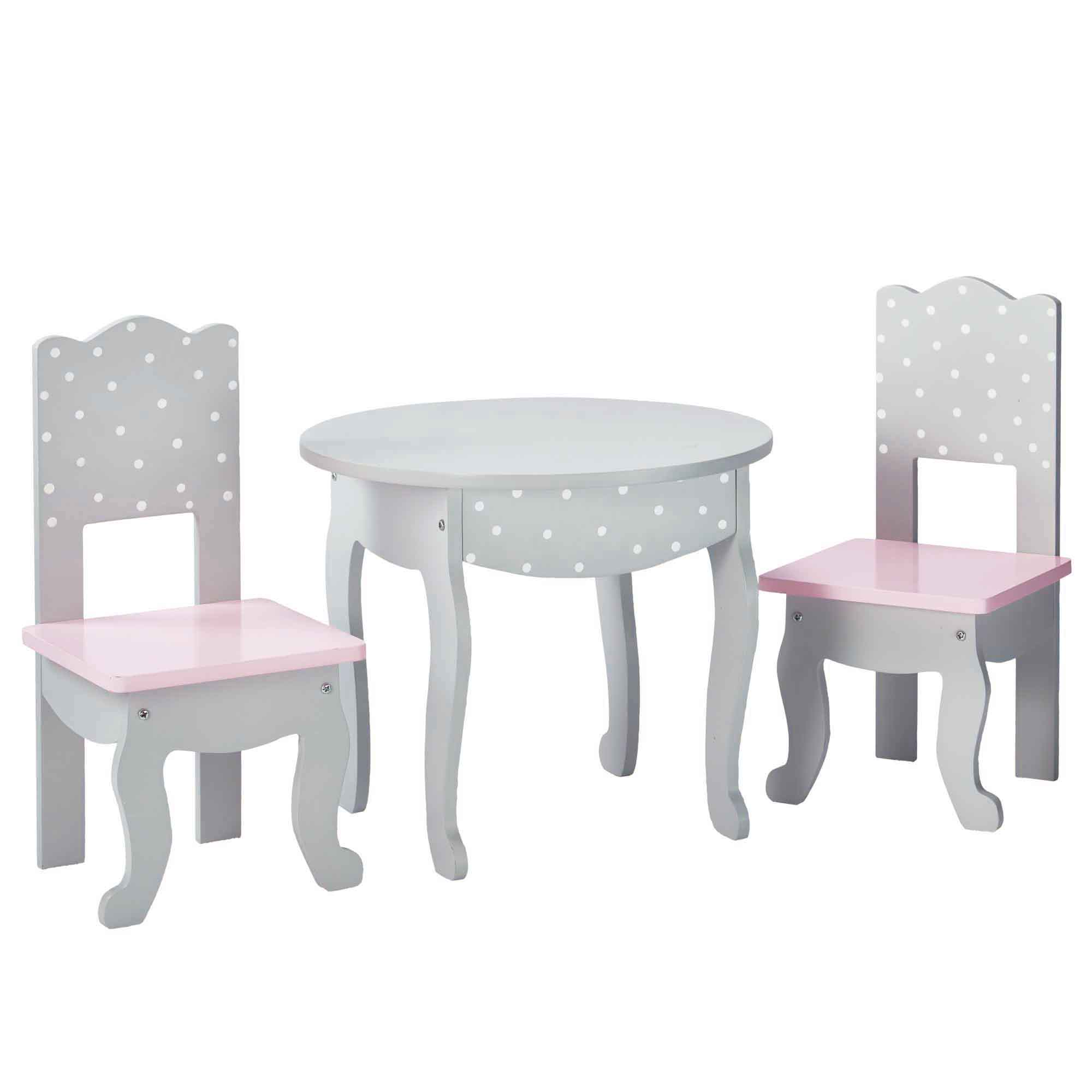 Olivia's little world ~ Polka Dot Princess 45cm Doll Furniture ~ Table & 2 chairs 3+