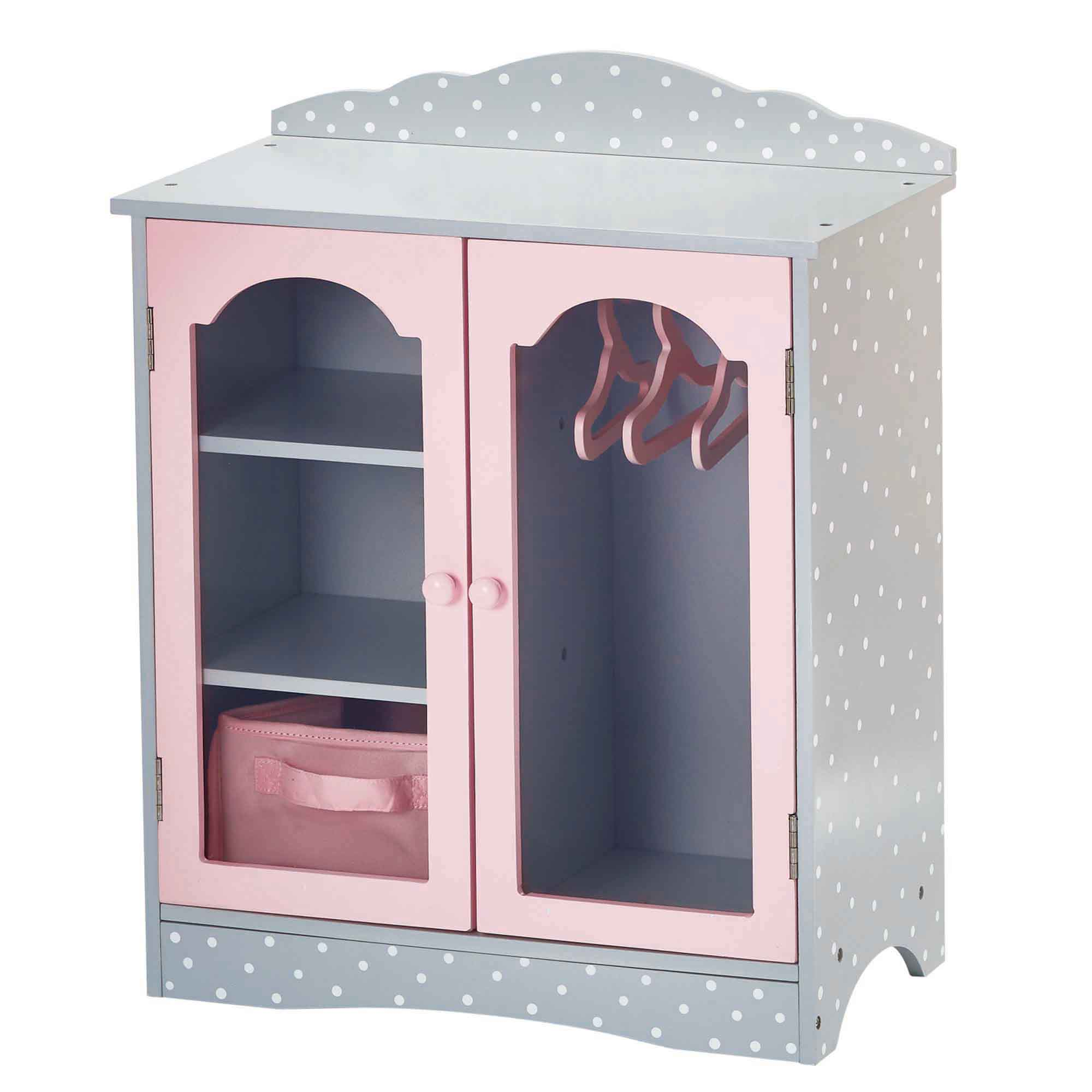 Olivia's little world ~ Polka Dot Princess 45cm Doll Furniture ~ Fancy Closet with 3 hangers 3+