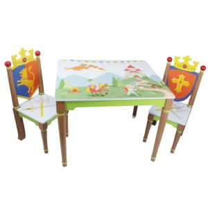 Knights & Dragons Table & 2 Chairs set ~ Fantasy Fields ~ Teamson