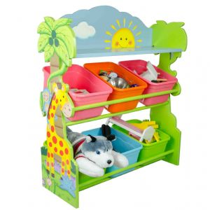 Sunny Safari Animals Hand Crafted Kids Wooden Toy Organizer with Storage Bins by Fantasy Fields Teamson