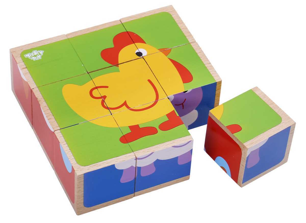 Wooden Farm animals block puzzle 2+ by Tooky Toys
