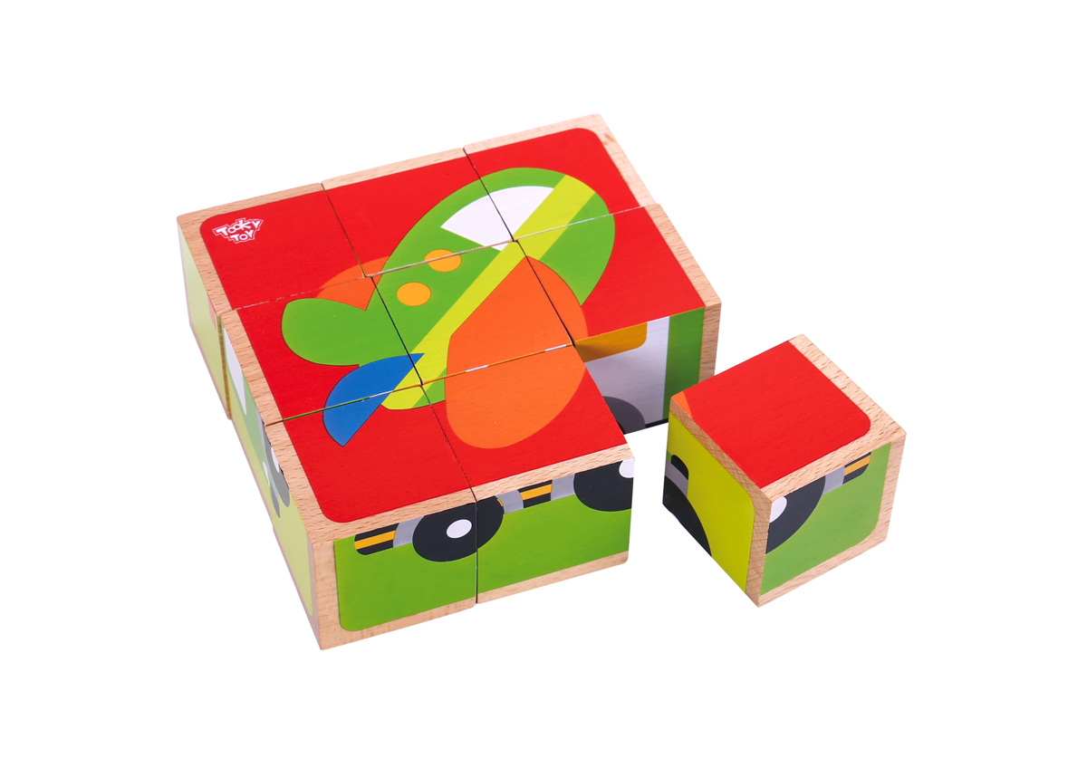 Wooden Traffic, Transport block puzzle 2+ by Tooky Toys