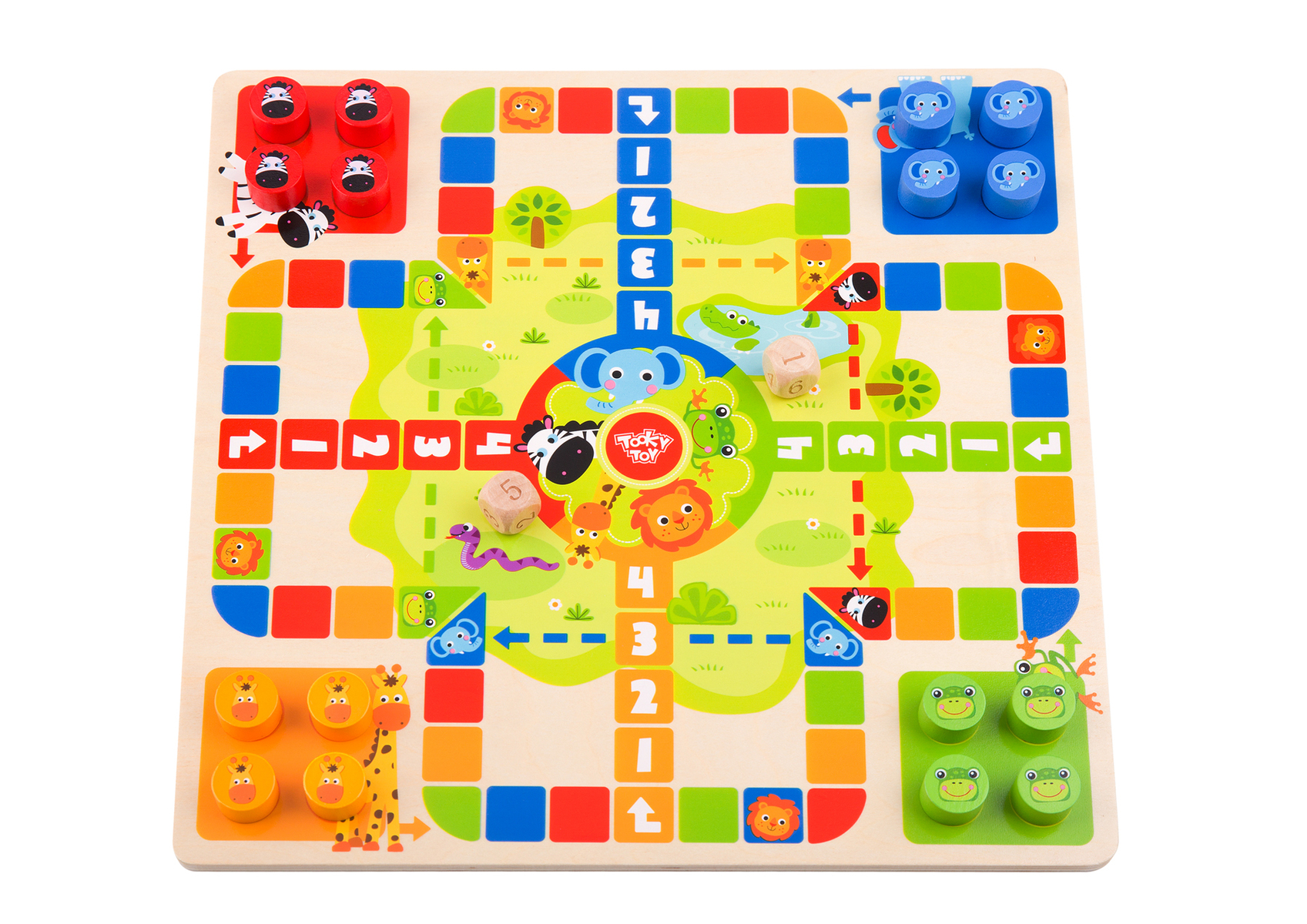 2 in 1 Wooden Board Game - Ludo Game, Snakes and Ladders Game 3+ BY Tooky Toys