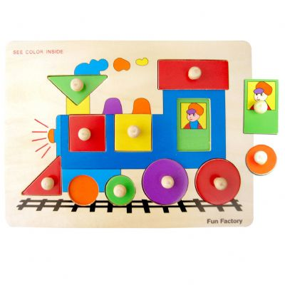 Wooden Train Shape Knob Puzzle by Fun factory 2+