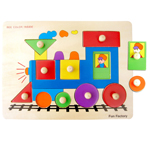 Wooden Train Shape Knob Puzzle