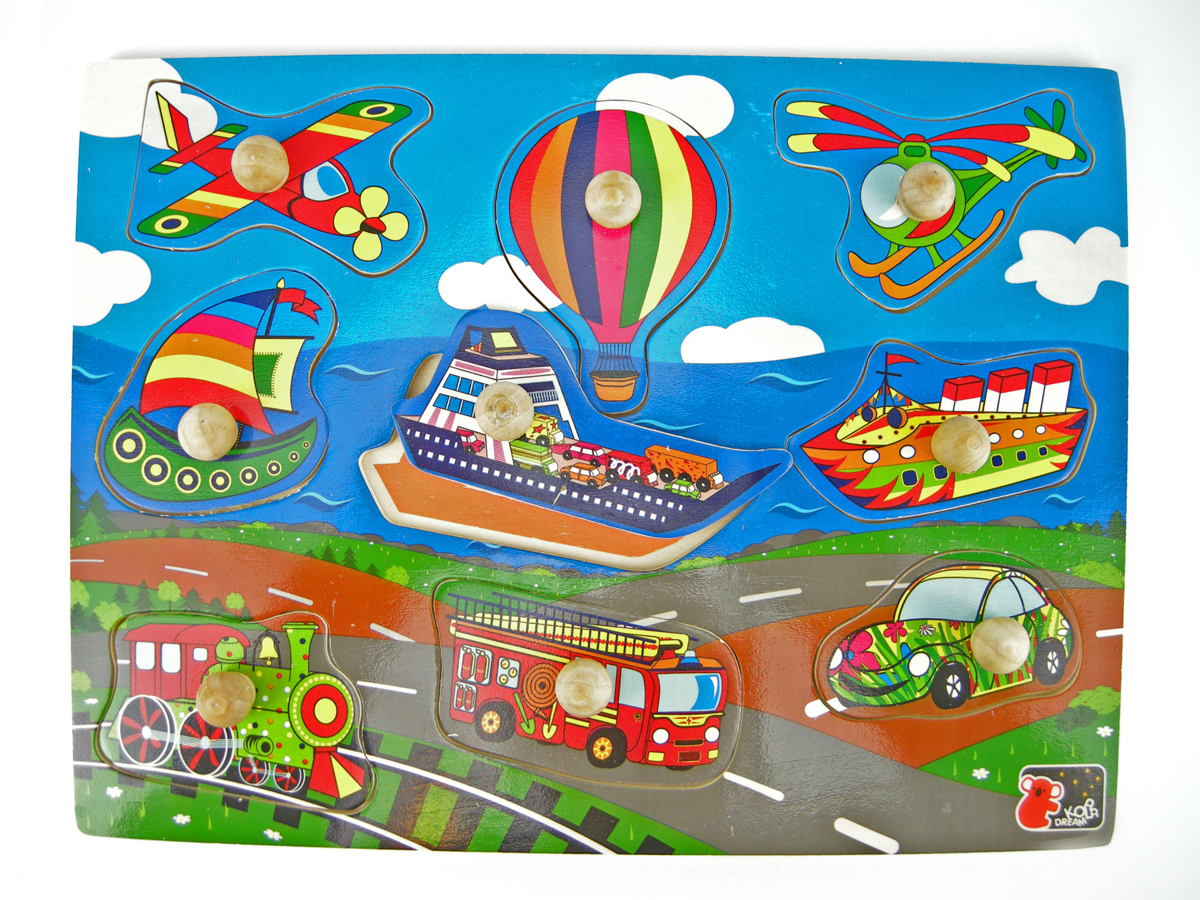 Wooden knob Transport puzzle by Kaper Kids