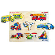 Wooden Transport Shape Knob Puzzle by Fun factory