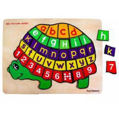 Wooden Turtle Alphabet & Number Puzzle by Fun Factory