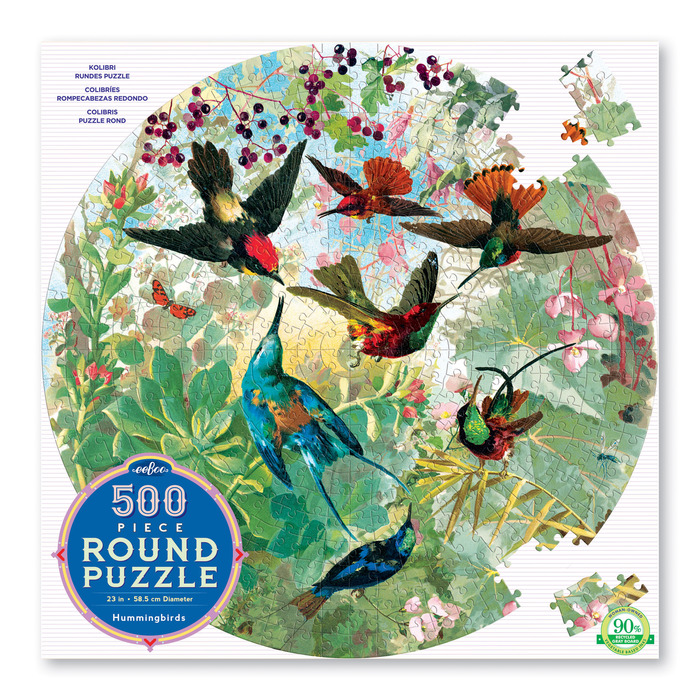 HummingBirds 500 Piece Round Jigsaw Puzzle by eeboo