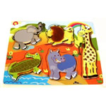 Wooden Jungle Animals Puzzle with skin for Sensory