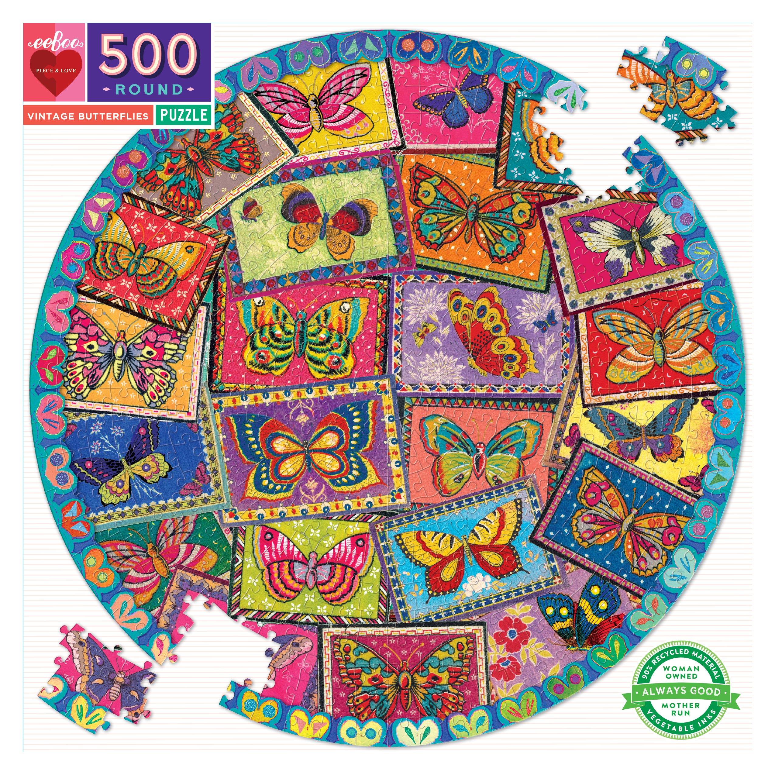 Vintage Butterflies 500 Piece Round Jigsaw Puzzle by eeboo