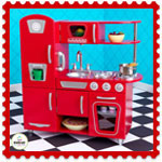 Wooden retro vintage red kitchen by Kidkraft