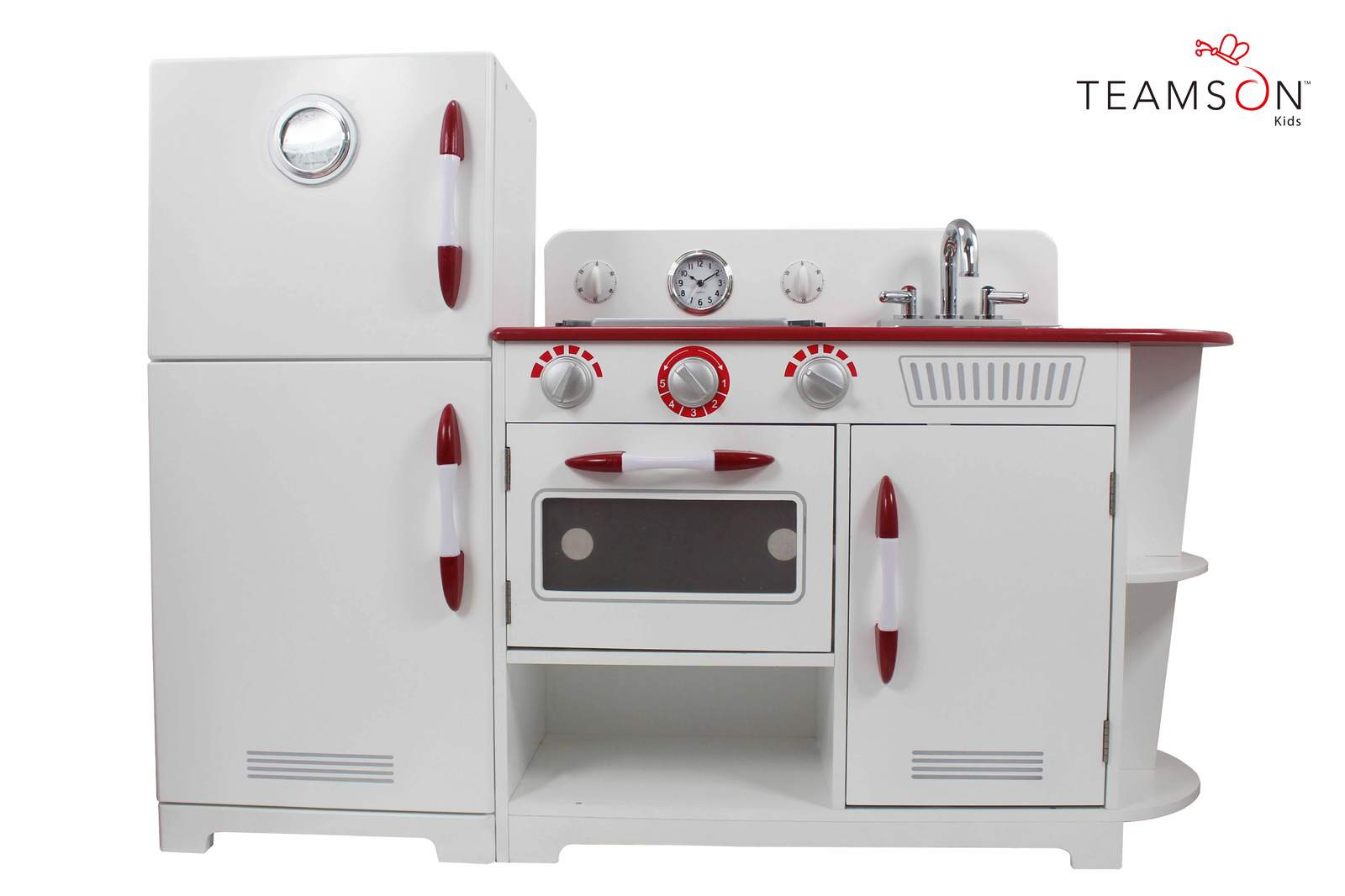 Tamson Kids 2 piece White & Red Play Kitchen