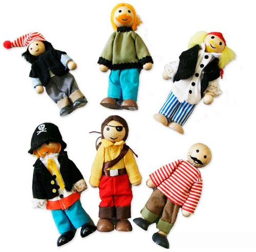 Wooden Pirate dolls x 6