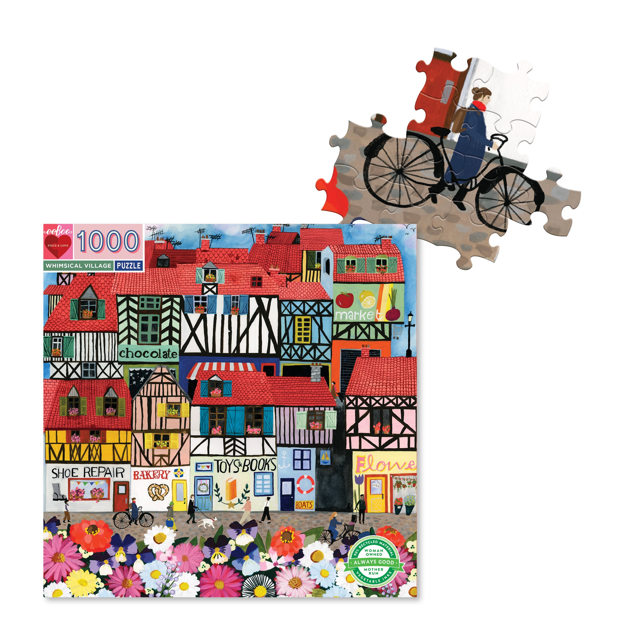 Whimsical Village 1000 Piece Jigsaw Puzzle by eeBoo