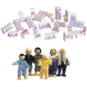 Wooden Dollhouse Furniture Package in White with Pink accessories and Dolls Family by Timbertop Toys
