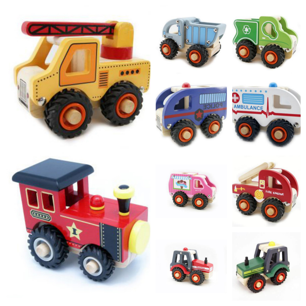Wooden Vehicles - Dump Truck, Fire Engine, Ambulance, Crane, Recycle Truck, Police Van, Ice cram Van, Red Tractor, Green Tractor, Train Engine