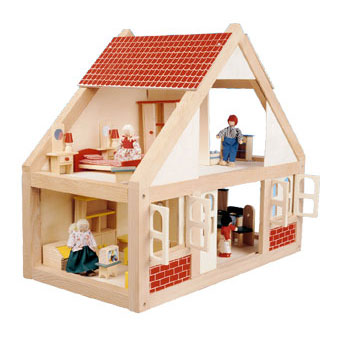 Wooden Classic Dollhouse with family of 4 dolls and 4 room of furniture