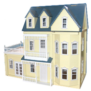 Large Wooden Yellow Victorian Doll House