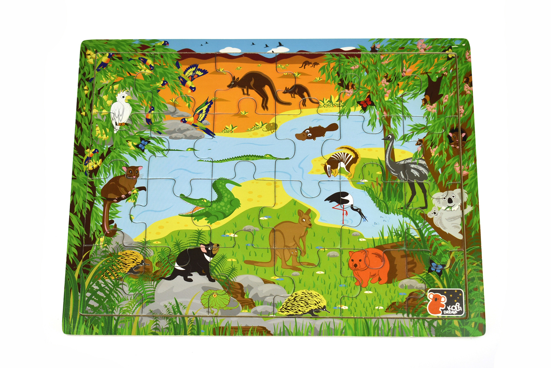 Wooden Australian Animals & Names jigsaw, interlocking puzzle by Koala Dream